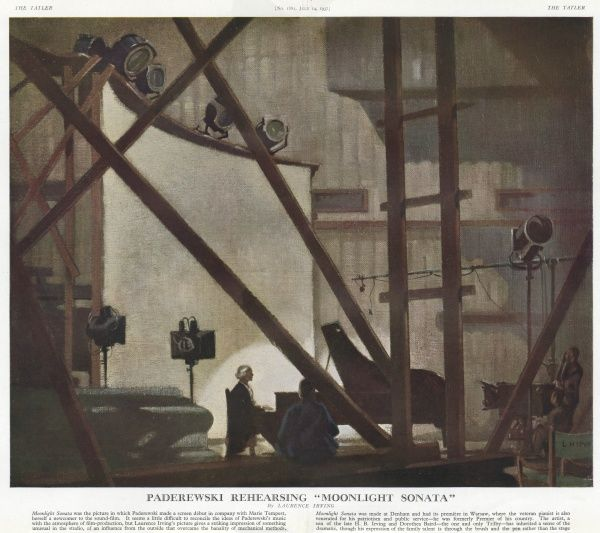 Painting depicting the virtuoso Polish pianist, Paderewski, in the film studio at Denham, rehearsing Beethoven's Moonlight Sonata for the film of the same name. Also a well-known Polish patriot, Paderewski served as Polish prime minister