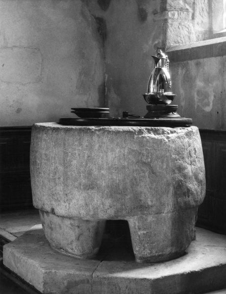 This font at Old Radnor Church, Radnorshire, Wales, is thought to have originally been used as a Pagan altar and adapted for Christian use in the late 8th century. Date: pre 8th century