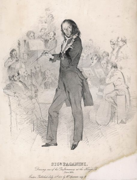 NICCOLO PAGANINI The virtuoso violinist performing at the King's Theatre, London, in June 1831