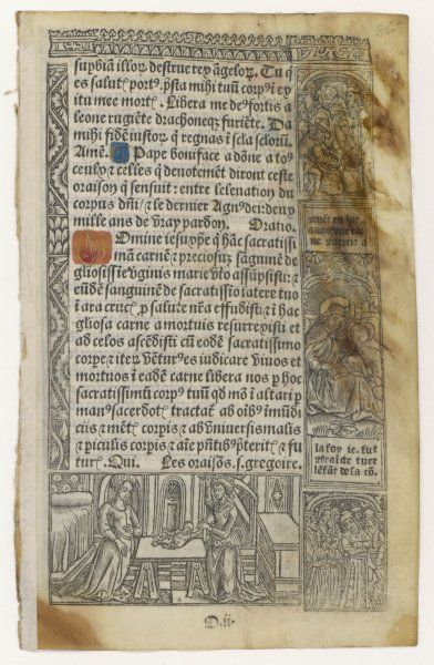 Page from a printed BOOK OF HOURS, with woodblock illustrations, printed on vellum and with initial letters coloured by hand to imitate a manuscript