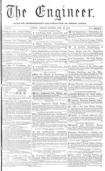 Front page of The Engineer, a mid-19th century British periodical devoted to reporting on inventions and industrial and scientific advancements. Date: 1856