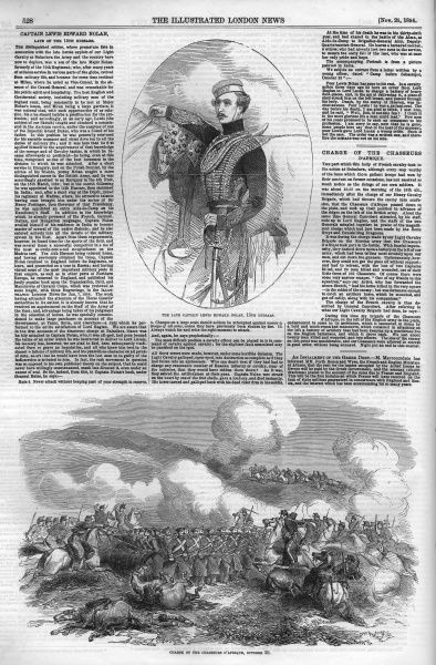 A page from the Illustarted London News 1854, featuring the obituary of Captain Lewis Edward Nolan of the 15th Hussars, as well as an engraving of the charge of the chasseurs d'Afrique, the French light cavalry. Date: 1854