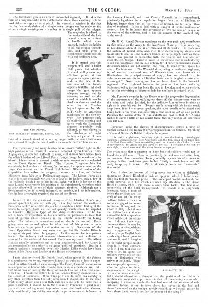 The 'small talk' section of The Sketch, dated 16th March 1898, featuring a picture of William F. Cody (Buffalo Bill) with his new Borchardt gun, and a gigantic bed, which, the article tells us, could comfortably sleep six or eight people