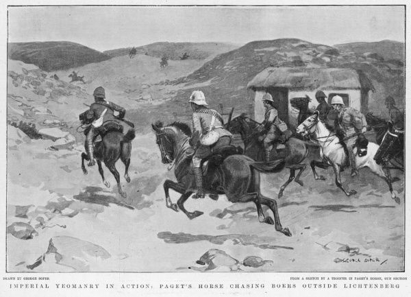 The Imperial Yeomanry in action: Paget's Horse Company chasing Boers outside Lichtenberg