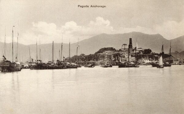 Pagoda overlooking the harbour at Huangpu District (formerly transliterated as Whampoa) - one of the ten districts in Guangzhou, Guangdong province, People's Republic of China. Date: circa 1910s