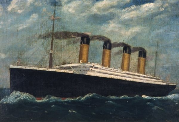 Painting of the White Star Line ship, Olympic, sister vessel to the ill-fated Titanic