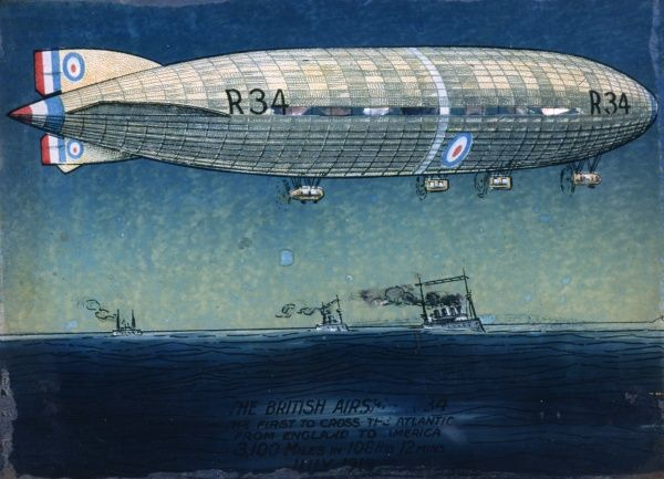 Painting of the R34 British airship, first to cross the Atlantic from the UK to the USA in 1919