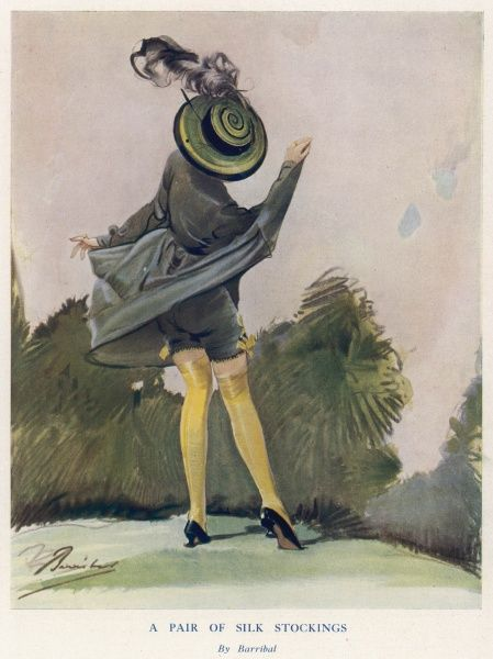 Lady lifting her skirt in a carefree way, exposing her stockings