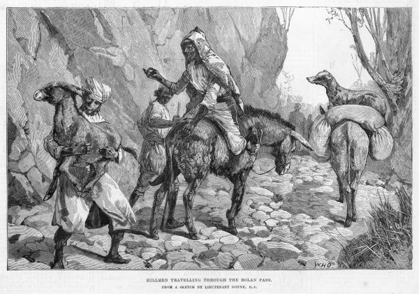 Hillmen and their mules travelling through the pass which runs from Sibi to Quetta in Baluchistan