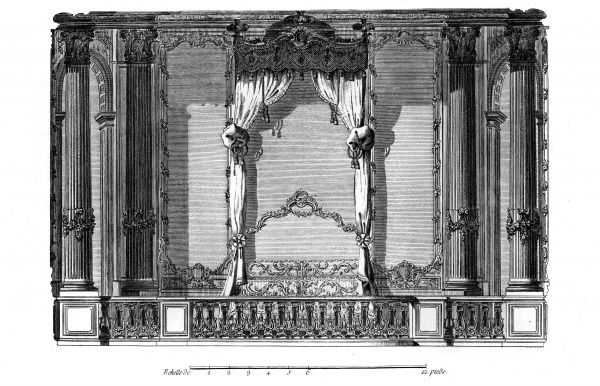A bedroom with an amazing canopy bed in the Palais Royal, Paris. Date: Circa 1760