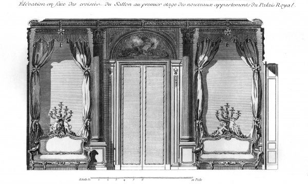 New appartments of the Palais Royal in Paris in the 18th century with sofas, curtains and candlesticks. Date: Circa 1760
