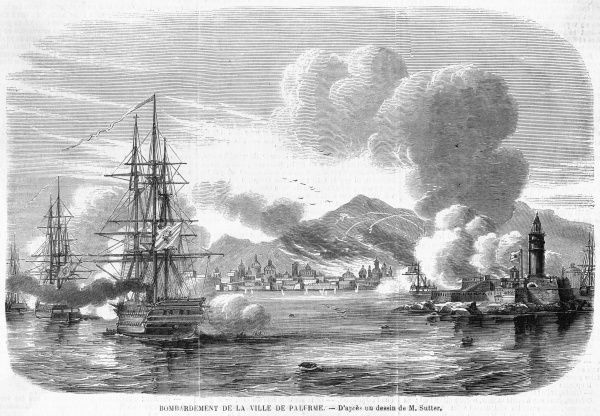 The Neapolitan navy bombards Palermo in a futile attempt to halt the insurrection