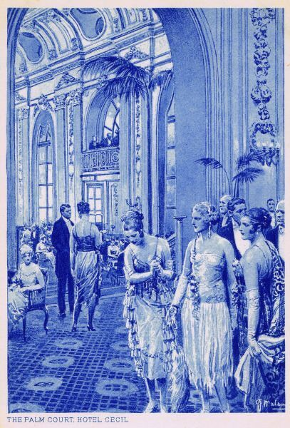 A blue-hued postcard showing the Palm Court at the Hotel Cecil, London Date: 1910s