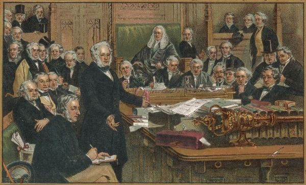 Prime Minister Lord Palmerston addresses the House of Commons
