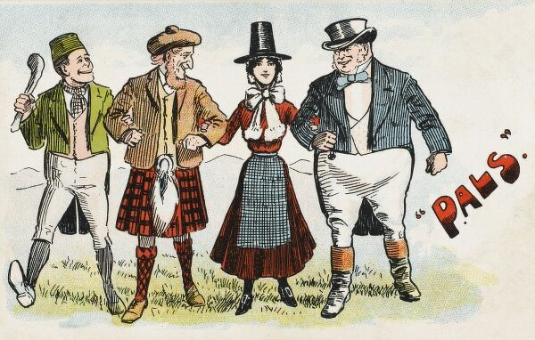 The national archtypes of Ireland, Scotland, Wales and England, represented by an Irishman in green holding a shillelagh, a Scotsman with ginger beard and a kilt, a Welsh lady in traditional costume and John Bull