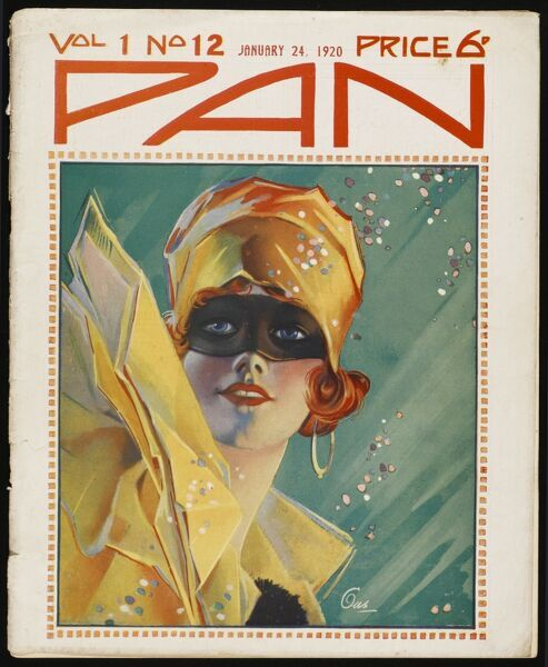 Illustration by Gus for the front cover of Pan magazine, depicting a red-headed girl dressed in fancy dress for a masque, ball or party