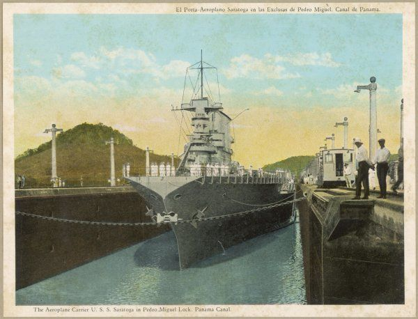 The United States 'aeroplane carrier' 'Saratoga' passes through Pedro Miguel lock. Date: 1914