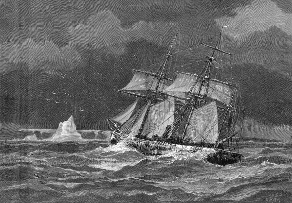 Engraving showing the Arctic exploration ship, 'Pandora', beating upwind to the Carey Islands, 1875