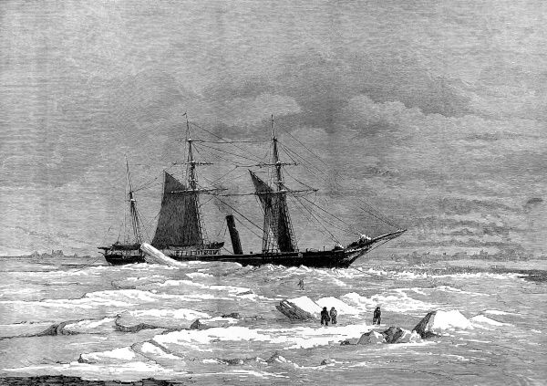 Engraving showing the Arctic exploration ship, 'Pandora', in Peel's Strait, 29th August 1875