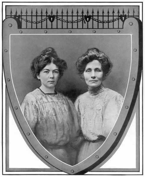 Suffragettes. A photo of Emmeline Pankhurst and her daughter Christabel, leaders of the physical-force party in the votes-for-women campaign. Together they founded the Women's Social and Political Union (WSPU) in 1903