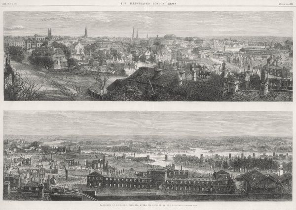 Panorama of the city of Richmond, Virginia (the top engraving joins with the lower one, end to end) in April 1865 when it was entered by Federal troops after the Confederacy had evacuated the city, its former capital