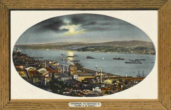 Panorama - View toward Tophane & the Bosphous, Constantinople at sunset. Tophane was where the principal military foundry of the Ottoman Empire used to be located