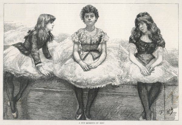 The employment of children in pantomimes - a group of children rest in between rehearsals