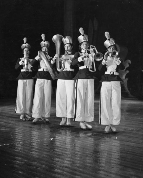 Girls in the production of 'The Merry Doll', a 'pantomime on ice'! Date: 1930s