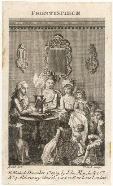 Father reads by candlelight to his wife and their six children in a well- to-do household