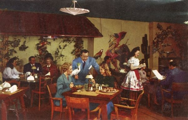 Al Williams' world famous Papagayo Room in the Fairmont Hotel, Nob Hill, San Francisco, California, USA, where the best Mexican food was served -- would the parrots pass a health inspection today? Date: 1950s