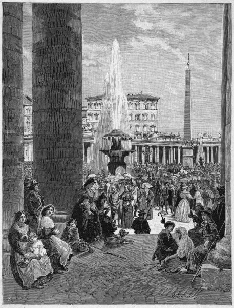 Leo XII, a pope of notoriously reactionary views, hosts a Papal Jubilee in Rome : crowds and tourists throng the piazza of St Peter's