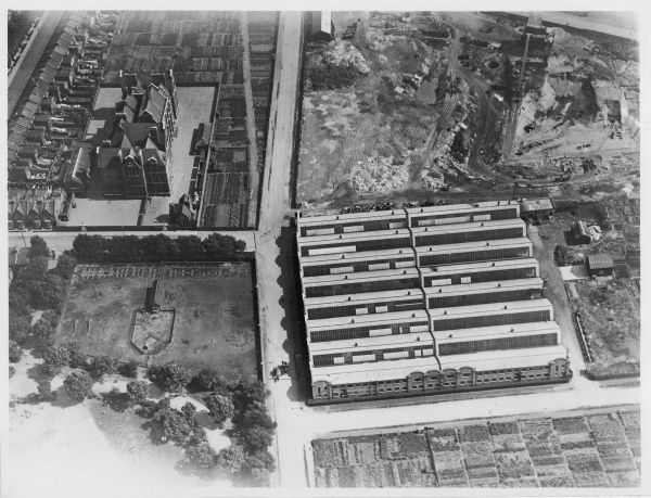 Aerial photograph of the Drayton Paper Works, Fulham, London