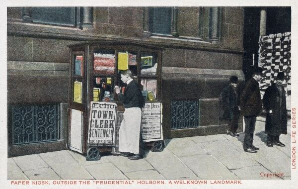 Newspaper Kiosk outside The 'Prudential', Holborn, London - 'a wellknown landmark&#39