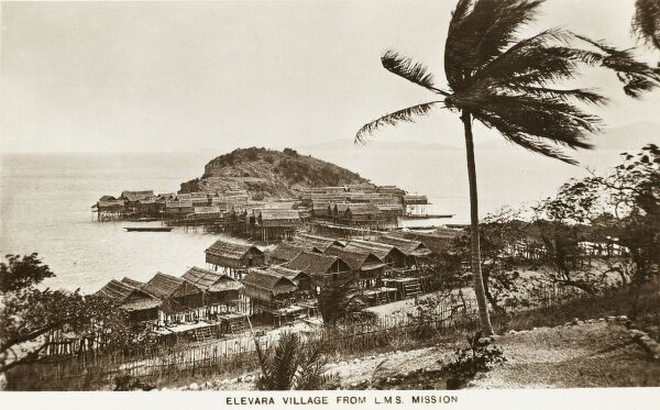 Papua New Guinea - Elevara Village viewed from the L.M.S. Mission. The London Missionary Society was a non-denominational missionary society formed in England in 1795 by evangelical Anglicans and Nonconformists, largely Congregationalist in outlook