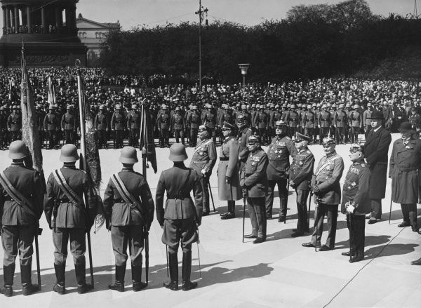 Parade of German Guards regiments in Berlin, Germany, 1930s
