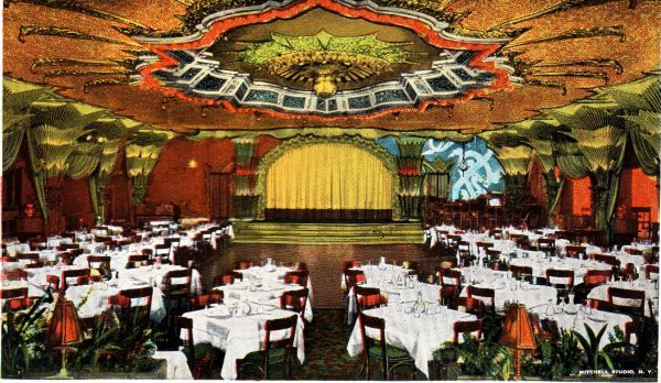 The interior of the Paramount Hotel Grill just west of Broadway at 46th Street, New York