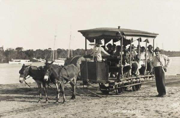 A mule-drawn railway wagon on the waterfront at the port Paranagua, in southern Brazil