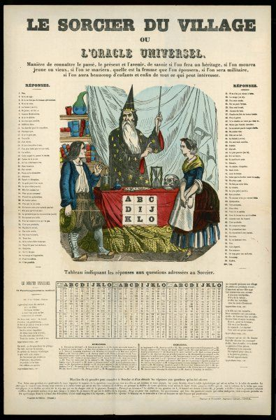 LE SORCIER DU VILLAGE Popular print depicting a young country couple visiting the local wise man to know what the future holds in store for them