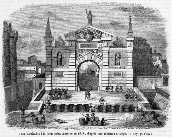The Parisian's passion for building barricades dates from long before the Revolution : this barricade at the Porte Saint-Antoine is shown in a print of 1648