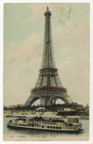 from the river Seine, with a 'bateau mouche' sightseeing steamer