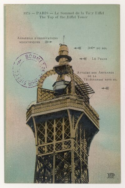 The summit of the tower - note postmark confirming that this postcard was posted at the top
