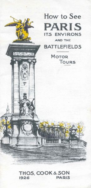 Cover illustration for How to see Paris, its environs, and the battlefields, Motor Tours, with Thomas Cook & Son, Paris