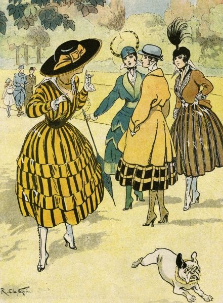 The new wartime fashion of short full skirts in bold designs & colours, high Louis heeled boots, loose jackets with belts, 'V'-necklines & hats with vertical feathers. Date: 1915