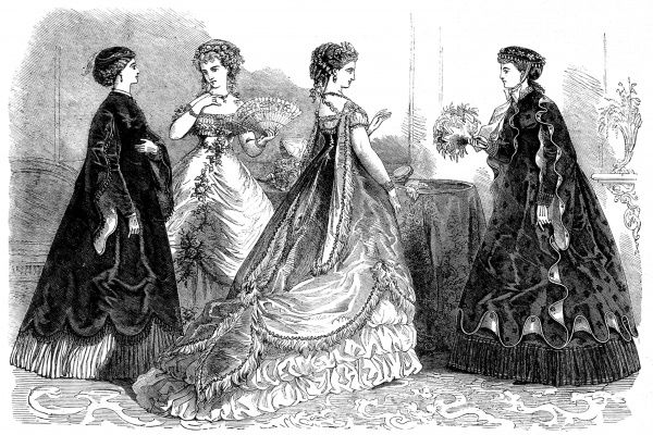 A sketch of four dresses from the couturiers' designs in France. The garments are made from velvet and silk, trimmed with lace and silk flowers