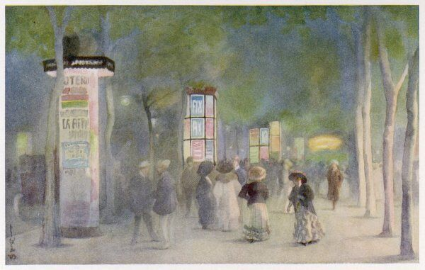 Grands Boulevards at night Date: 1908