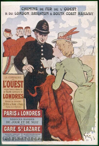By rail and sea from Paris to Brighton or London, featuring a London policeman helping a lady sightseer 5 of 8