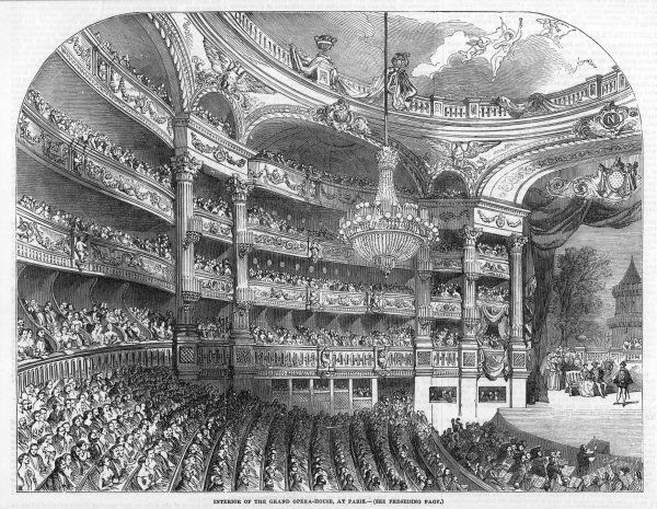 The interior of the Paris Opera House, with a full auditorium watching a performance in progress