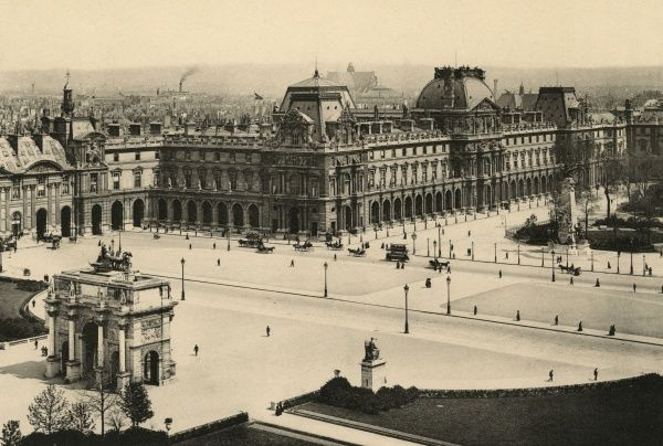 The main courtyard of the Louvre, seen from the direction of the jardins des Tuileries. Date: circa 1900