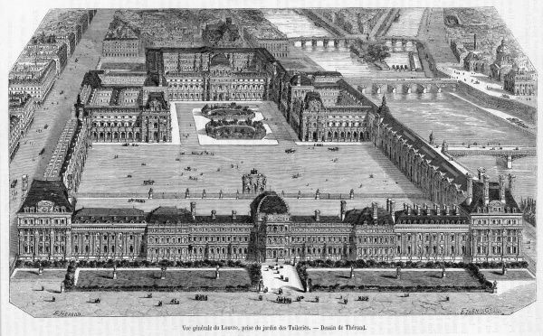Bird's-eye view of the Louvre and the Tuileries, shortly before the destruction of the Tuileries during the Commune