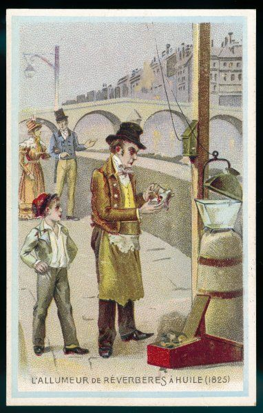 A Paris lamplighter prepares to light an oil lamp, which he has to fill every evening